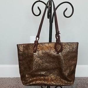 Tommy Bahama brown/gold shimmery leafy purse